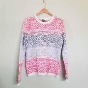 Talbots Christmas sweater large wool pink crewneck